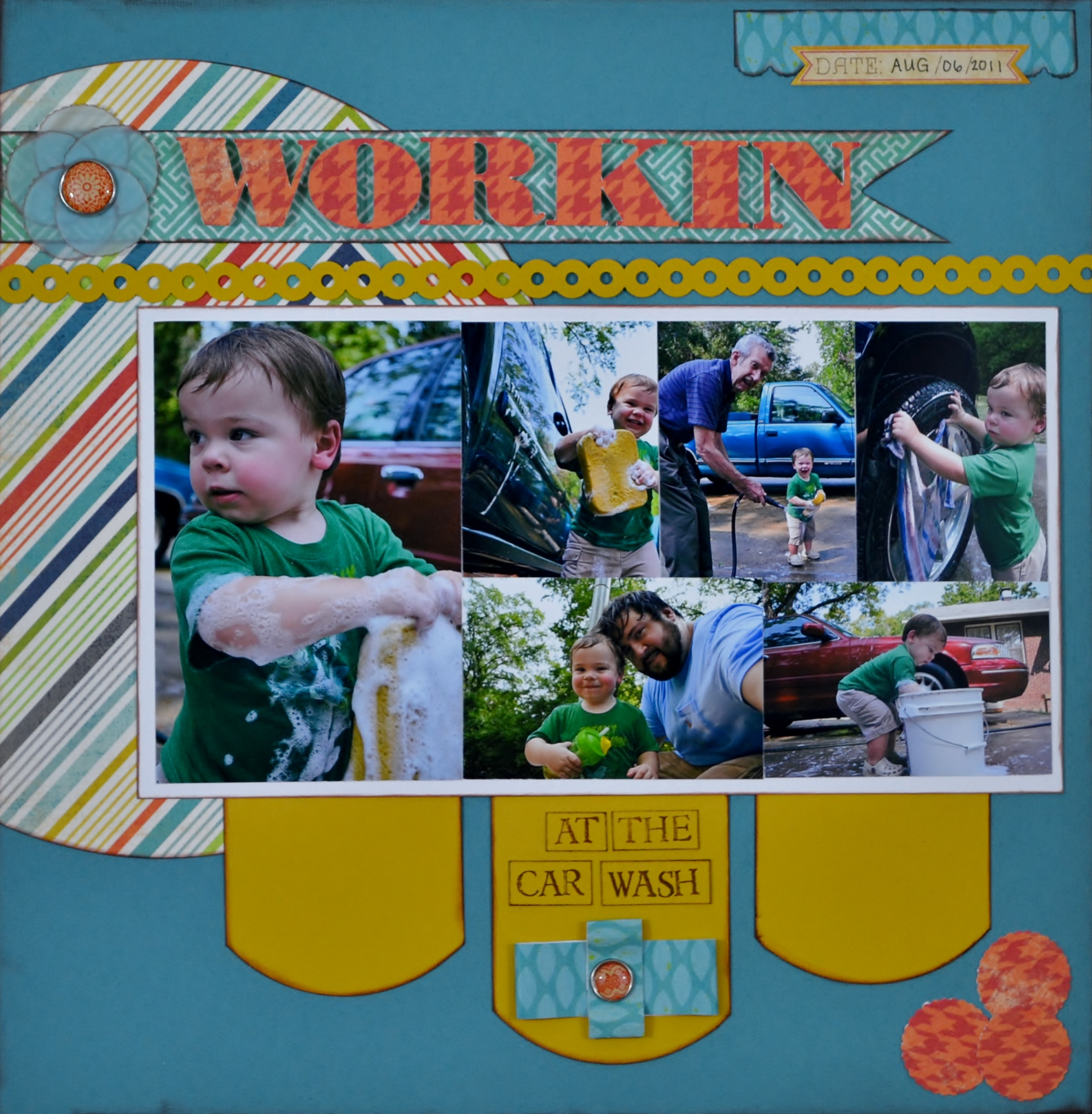 car wash, scrapbook layout, scrapbooking