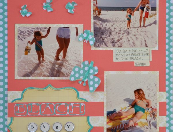 scrapbooking layout, scrapbooking, beach