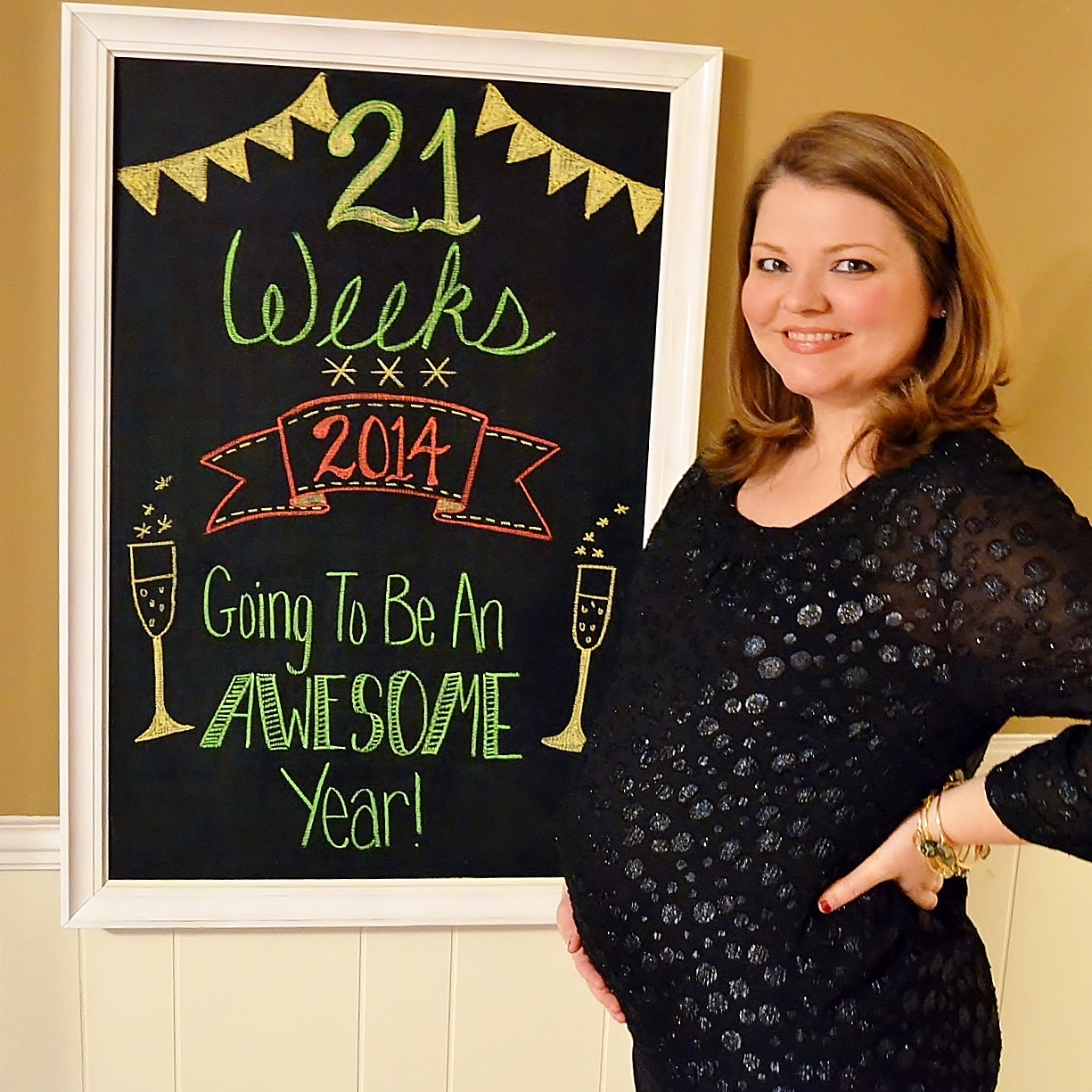 New Year, Pregnancy Chalkboard, pregnant woman
