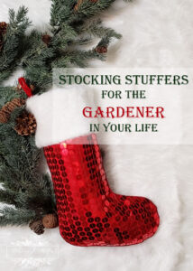 Red sequin stocking with greenery